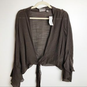 Avenue brown sheer tie front bell sleeve shrug